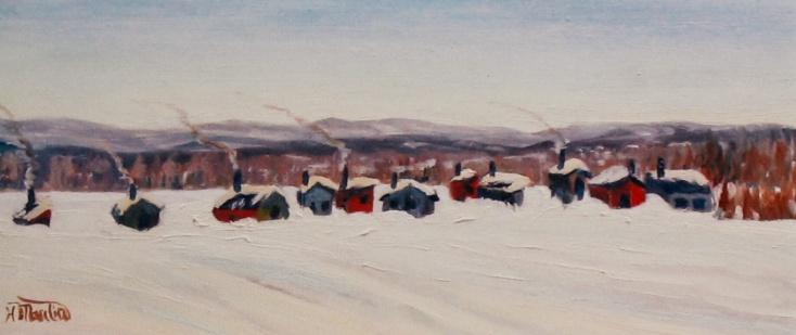 """Fishing huls, Ottawa River I, #160, 6""""x14"""", Oil on board, $235.00"""