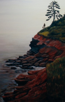 "#202, Red Cliffs, PEI, I, 24""x36"", Oil on canvas, $700.00"