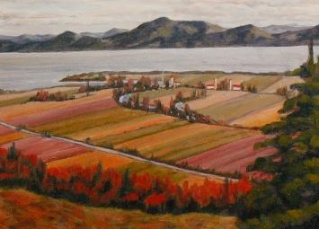 """#205-Rivière Ouelle, vue de St-Pacôme, 12""""x16"""", Oil on board, $355.00"""