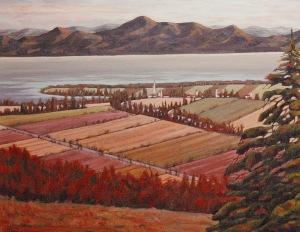 """#216, Rivière Ouelle, vue de St-Pascôme II, 22""""x28"""", oil on canvas, $650.00"""