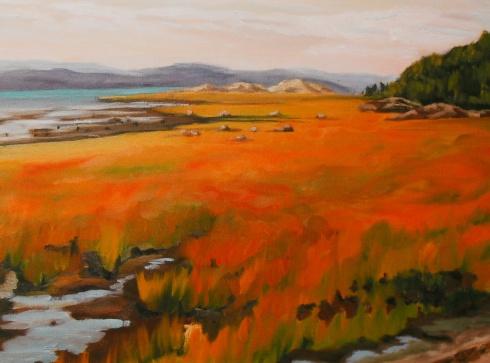 """#235, Joncs en automne, St-Denis, 16""""x20"""", Oil on canvas, $425.00"""