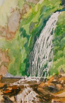 """#241, Rata trail fall, NZ, 6""""x9"""", Water Colour, $65.00"""