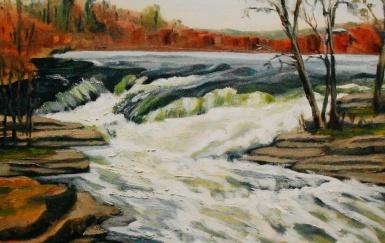 """#250, Décharge des eaux, I, Bonnechere, On, 14""""x18"""", Oil on canvas, $370.00"""