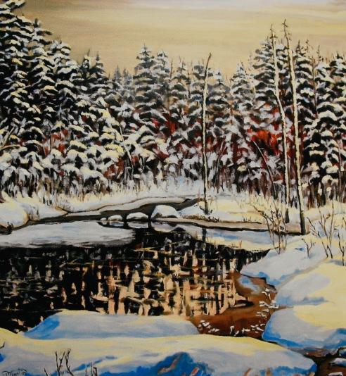 "#259, La calvete, Lac Sébastien, QC, 36""x36"", Oil on gal canvas"