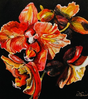 """#260, Orchids I, 9""""x10"""", water colour, $215.00"""
