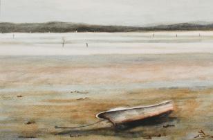 """#262, La chaloupe, marée base, 9""""x12"""", water colour, $195.00"""