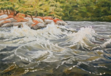 "#266, 9th rapids, Ottawa River, 12""x16"", Oil on canvas, $375.00"