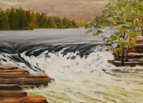 #267, 4ieme chute, Bonnechère II, 11'x14', Oil on canvas, $325.00