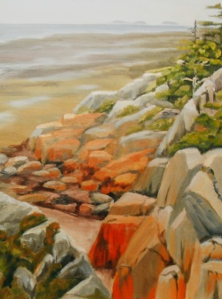 """#269, Rocky shore, St-André I, 14""""x18, oil on canvas, $415.00"""