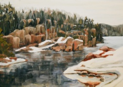 "#270, Rive Rocheuse, Shipshaw, QC I, 14""x18"", oil/c, $375.00"