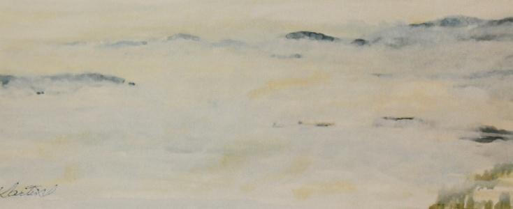 """#279, Fog on the St-Laurent, St-Joseph de la Rive, 5 x12"""", w/c, $95.00"""
