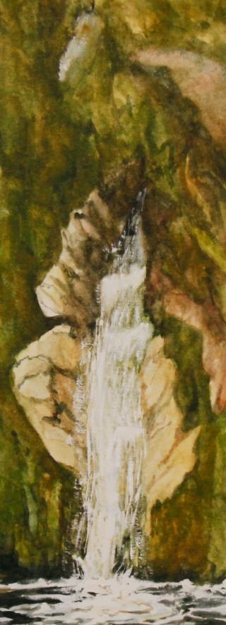 """#291, Dorothy's Fall, NZ, 4.5""""x12"""", W/C, $185.00"""