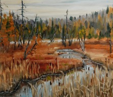 """#305, October beauty, Ste-Lucie, QC, 16""""x20"""", Oil on board, $475.00"""