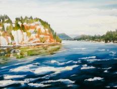 """#313, Sagnueney River, arrivée du printemps, 16""""x20"""", oil/c"""