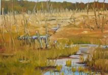 """#353, Marsh in fall II, 12""""x16"""", oil on board, $380.00"""