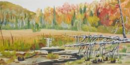 """#354, Marsh in fall II, 10""""x20"""", oil on board, $385.00"""