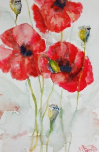 "#360, Popies in bloom I, 6""x9"", w/c, $95.00"