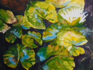 """#403, Floating, 8""""x10"""", w/c and gouache, $145.00"""