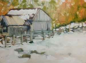 "#411, Barn in snow, 12""x16"", oil on board, $355.00"