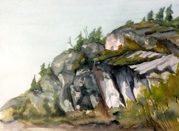 """#416- Monagnok, Kamouraska, Watercolour, plein air ptg, 9""""x12"""", $180.00"""