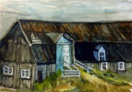 "#418- The blue door, St-Pascal de Kamouraska, watercolour, plein air ptg, 9""x12"", $180.00"