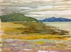 """#420- Seashore, St-André de Kam, watercolour, plein air painting,9""""x12"""", $180.00"""