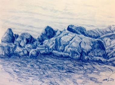 "#422- Rocky Shore II, Pencil crayon on paper, plein air ptg, 9""x12"", $195.00"