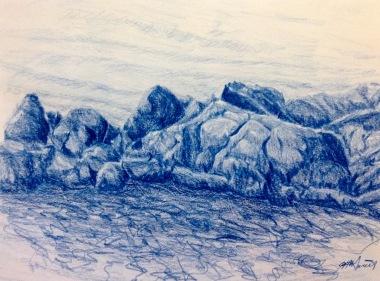 "#422- Rocky Shore II, Pencil crayon on paper, plein air ptg, 9""x12"", $195.00"
