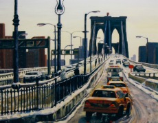 """#203-Morning comute, NY I, 20""""X24"""", oil on gallery canvas, $595.00"""