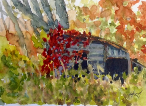 "421,Small shed, Opeongo, watercolour, 5""x7"", $65.00"