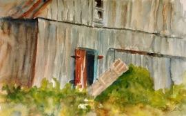 "427, Barn with red door, Opeongo, watercolour, 8""x13"", $175.00"