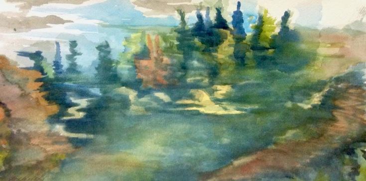 "428, Maning rd marsh, Opeongo, watercolour, 8""x16"", $195.00"