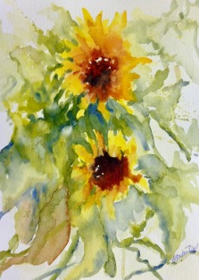 "430, Two Sunflowers, watercolour, 9""x12"", $165.00"