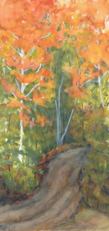 """#436-Rosien raod, Watercolour and gouache, 8""""x16"""" $195.00"""