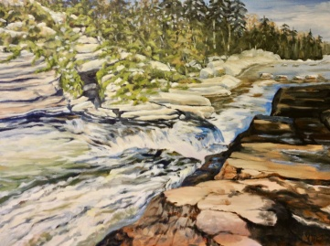 "438-Bonne River, 4th Chute, oil on gallery canvas, 30""x40"", $1200.00"