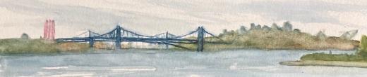 """#449- Halifax, vu de Bedford, Watercolour, 5""""x7"""", plein air painting, $95.00"""
