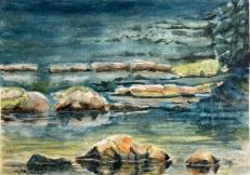 """#454- Salt Marsh trail I, NS, watecolour & gouache, plein air painting, 9""""12"""", $215.00, unframed"""