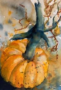 """#445- Pumpkin I, watercolour et gouache, plein air painting, 7""""x10"""", $155.00, unframed"""