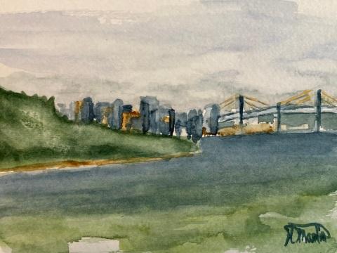 """#447- Halifax vu de Fisherman's cove, Watercolour, plein air painting, 5""""x7"""", $75.00 unframed"""