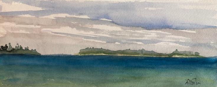 "#4460 Fisherman's cove, aquarelle et gouache, plein air painting, 5""x12"", $150.00 unframed"