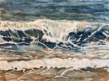 "#456- Wave II, watercolour and gouache, 9""x12"", $215.00"