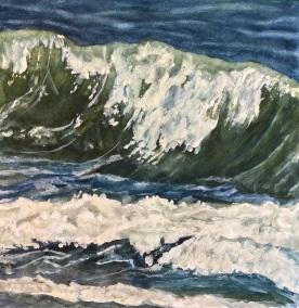 "#457- Wave III, Watercolour and gouache, 12""x12"", $225.00"