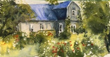 """#459- At the cottage, Watercolour on 300gm paper, 5""""x9"""", $125.00"""