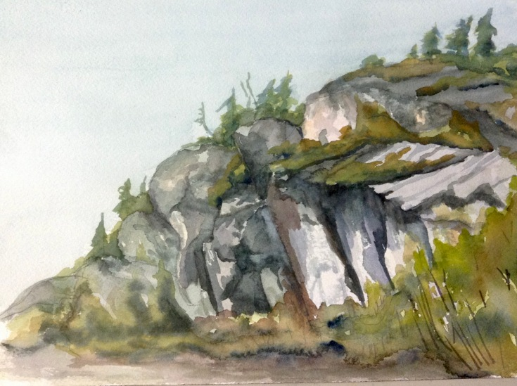 "#416- Managnoc, Kam, watercolour, pleinair painting, 9""x12"", $180.00"