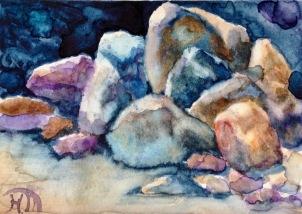 Rock Study I, Water colour and gouache, carte de fête de Marlène